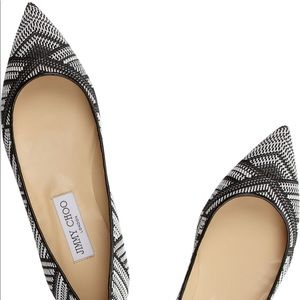 Jimmy Choo Alina Black and White Woven Ballet Flat